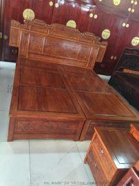 实木家具  卧室成套家具 古典中式老榆木家具 双人婚床大床