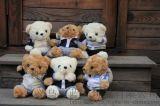 校服泰迪熊学生学院风坐版泰迪熊毛绒玩具厂家定制批发热销中