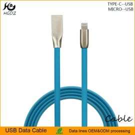 批發蘋果手機鋅合金藍色果凍USB2.0充電數據傳輸線,