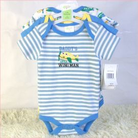 外贸婴装童装0-1岁宝宝纯棉短袖三角哈衣三件套带衣架