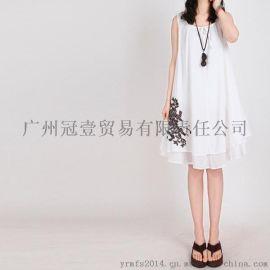 復古文藝夏季簡約刺繡印花 民族風假兩件連衣裙