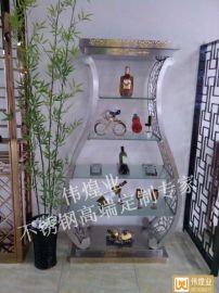 酒店藝術裝飾品酒架偉煌業不鏽鋼酒架定制專家