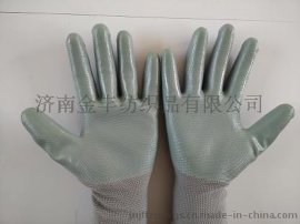 灰色丁晴手套 防油渍浸胶手套13针尼龙手套