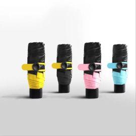 袖珍迷你口袋傘小黑傘五折黑膠超輕手機傘 一件代發網路爆款批發