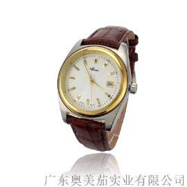 新款正品香港华亚手表不锈钢金色真皮休闲男士腕表石英手表男可定制批发