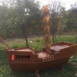 景观船工厂定做 千年舟户外装饰船大型实木