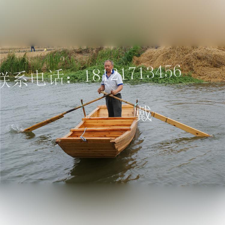 休闲木船手划船鱼塘养殖船河道清洁船渔船木船玻璃钢船图片