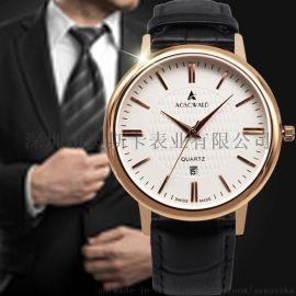 AOSCWALD韓版商務手表正品時尚防水石英錶男簡約皮帶男士手表批發