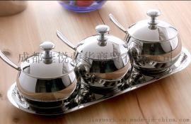 304不锈钢调味罐 厨房糖罐盐罐 创意四件套