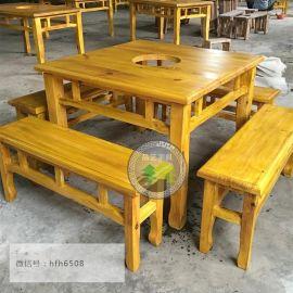 八仙桌椅實木快餐桌椅飯館酒店品藝火燒實木家具