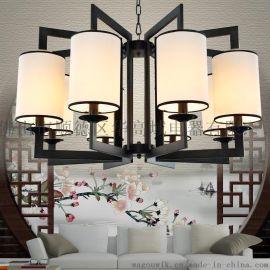 新中式吊燈餐廳鐵藝臥室客廳中國風簡約酒店會所古典復古燈飾