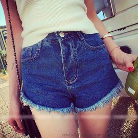 日韩夏季新款 修身显瘦纯色百搭高腰流苏边牛仔短裤热裤