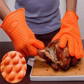 BBQ燒烤 硅膠手套 200克加厚隔熱 烤箱耐熱防燙手套 微波爐手套