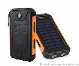 指南針太陽能移動電源 野馬防水太陽能充電寶定制禮品logo