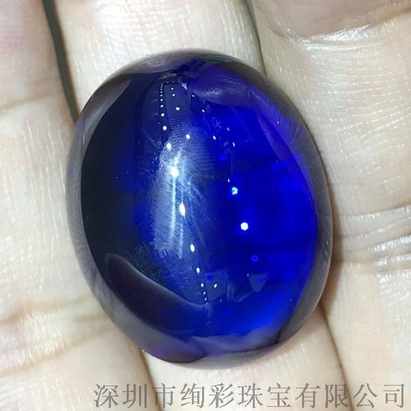 绚彩珠宝 71克拉素面坦桑石裸石 颜色浓郁 温润 天然宝石