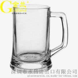 厂家定制玻璃啤酒杯啤酒把杯500ml加印酒标