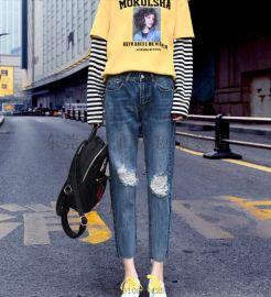 广州便宜牛仔裤高腰弹力九分裤小脚牛仔裤5元裤子