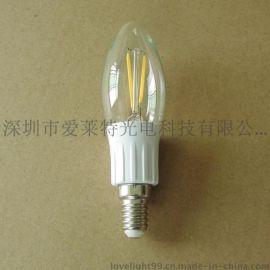 LED灯丝灯 4W调光蜡烛泡 灯丝蜡烛泡 LED钨丝灯