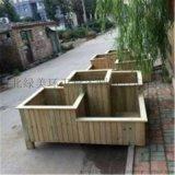 供應防腐實木移動園林花箱 塑木戶外小區木花箱