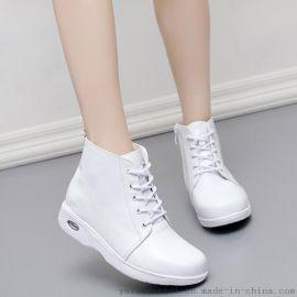 护士鞋棉鞋气垫白色加绒保暖坡跟