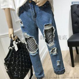 最便宜牛仔裤清韩版时尚高腰破洞牛仔裤处理九分牛仔裤