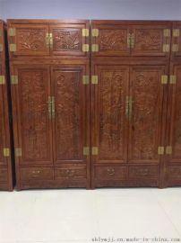 实木卧室衣柜 榆木古典家具