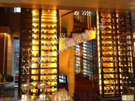 酒吧高端定制不锈钢酒柜|大型不锈钢酒柜酒架设计