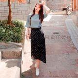 日韩女装夏季新款  圆点印花不规则下摆中长款雪纺半身裙