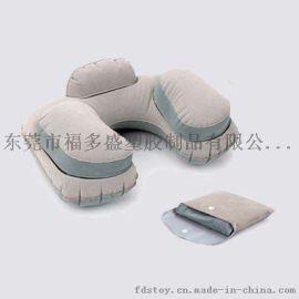 充气环保PVC植绒枕 充气U型护颈枕 便携植绒枕头