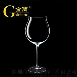 水晶玻璃高脚红酒杯厂家定制酒标