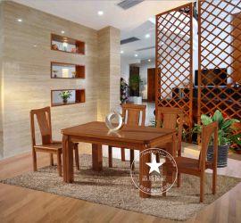 恆嶽家具 廠家直銷 美國紅橡餐桌椅 長條桌子椅子 純實木飯桌