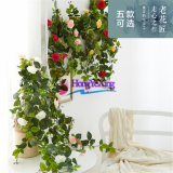 仿真玫瑰花壁挂  家居墙壁装饰 仿真植物藤条