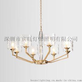 后现代简约金色玻璃吊灯 奢华个性餐厅客厅卧室书房酒店展厅吊灯