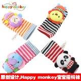 happy monkey婴儿童宝宝0-3个月动物立体摇铃袜套袜子玩具春秋
