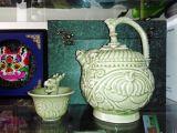 陕西耀州瓷倒流壶公道杯两件套 西安特色陶瓷茶具商务礼盒