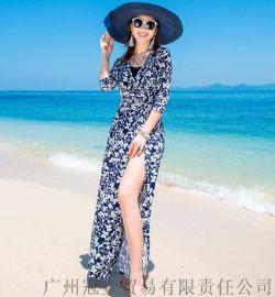 欧美风碎花开叉长裙 五分袖沙滩装两穿防晒长款开衫【外贸女装现货批发】