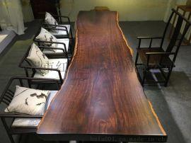 原木實木家具黑檀大板桌辦公家具會議桌茶桌餐桌