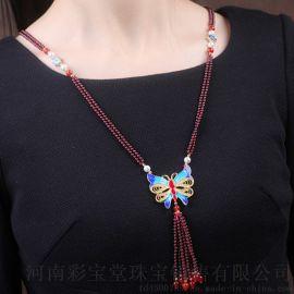 郑州五皇一后珠宝天然石榴石奢侈定制酒红色毛衣链