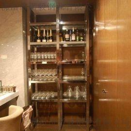 常德304古铜色不锈钢酒柜定做