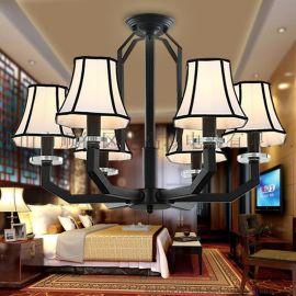 新中式吊灯餐饭厅客厅卧室吸顶灯简约布艺装饰灯具