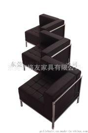 真皮转角沙发,皮面组合沙发,大堂沙发