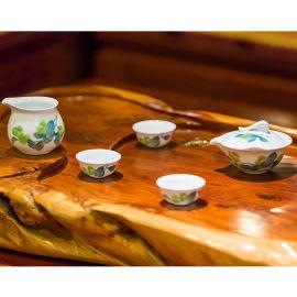 银银瓷器 醴陵釉下五彩瓷 春绿茶具 商务礼品