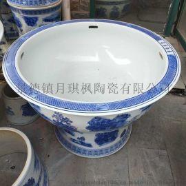 景德镇陶瓷器立式金鱼缸 水族箱养乌龟睡莲碗莲养花盆