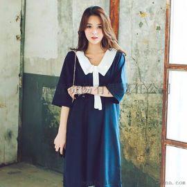 日韓女裝時尚海軍風彼得潘領 寬鬆休閒大碼連衣裙學院風連衣裙