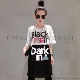 日韓街拍風新款時尚原宿風 寬鬆字母印花t恤裙連衣裙