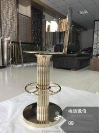 异形钛金不锈钢吧台椅酒店装饰图文