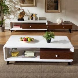 现代简约茶几北欧电视柜组合客厅家具实木脚钢化玻璃烤漆创意茶几