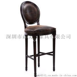 复古实木吧椅实木靠背铁艺酒吧椅欧式高脚凳子吧台凳