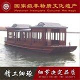 公园景区电动观光餐饮船 云南山西木船厂家出售手工制作大型画舫船
