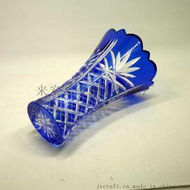 高档套皮刻花玻璃花瓶手工雕刻制作精美礼品饰品套装家居摆饰